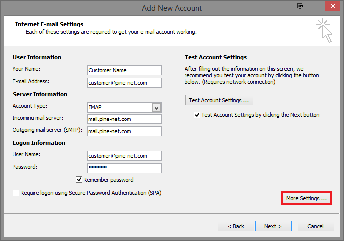 Pine-Net com   Setting Up Email on Outlook 2010